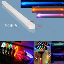 price per meter 5 x 5mm square tpu side glow optical fiber optic for glowing clothes light