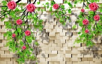 3D-0142 Almost Real Rose Vines 3D WallPaper Rustic Brick Wall