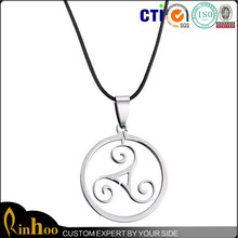 High Grade Round Ornament Pendant Necklace, Stainless Steel Necklace Wholesale, Circle Necklace