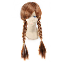 New Adult Children Frozen Anna Coronation Brown Wig Braid Full Hair Cosplay Wigs Hair QPWG-2153