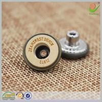 Bulk novelty craft wooden logo OEM metal jean jacket buttons