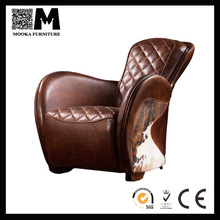 Luxurious Antique italian leather pony-hide lounge chair