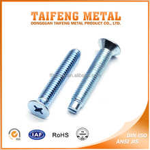 Quality Blue Zinc Coated Phillips Flat Head Screw With Slotted Tail