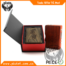 promotion high quality original tesla mod e-cigt 120w wooden mod box in factory price