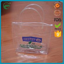 custom logo clear vinyl pvc zipper bags with handles
