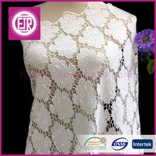 Guangzhou wholesale big flower bridal crochet lace fabric , wedding white mesh 100% cotton guipure lace fabric for wedding dress