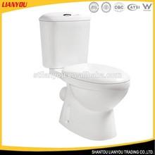 Proveedor chino blanco de cerámica de dos piezas wc aseo