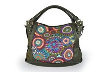Everyday Whimsy Jungle Flower Slouchy Cheap Leather Shoulder Tote Bag, Dark Green