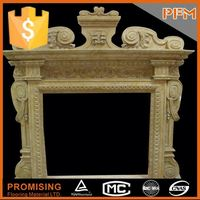 2015 hot sale natural wholesale hand carved wooden marble fireplace surround