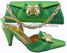2014 italian matching shoes and bags wholesale shoes for women green evening shoes and matching bag