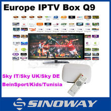 2015 best iptv box Q9 android4.4 can enjoy 650+europe channels include european/french/arabic/bein sports/sky channel