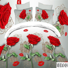 Reactive rose printed bright color bed sheet sets 100% polyester brand bed cover set cheap king size luxury 3d bedding set