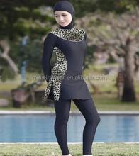 2015 New design women printed full length islamic swimsuit muslim swimwear