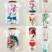 2015 Women new model printing Casual Loose Batwing Sleeve T Shirt SV015414