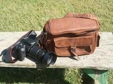 Vintage Leather Camera Bag DSLR / SLR Bag Padded Camera Case Handbag