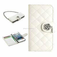 Leather wallet flip cover case for Apple ipod touch 5 case with chainlet