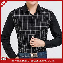 High quality latest fashion new style plaids men black shirts