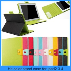Mix color Magnetic Stand Flip Leather Case Cover for Apple iPad 4 3 2 with stylus holder