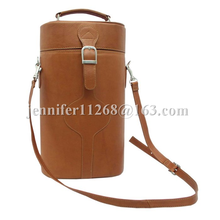 double bottle design leather wine carrier bag for wine gifts