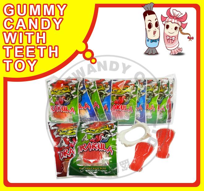 Dulces de goma con juguete dientes