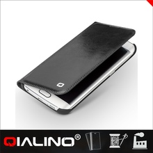 QIALINO Newest Nice Quality Oem Production Book Style Phone Leather Case For S6