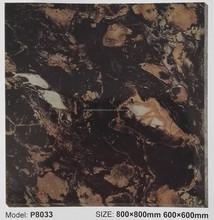 600600/800X800mm black stone design full polished glazed porcelain floor tile