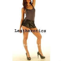 Real Micro Mini Leather Tight Low Waist Skirt