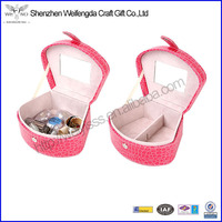 hot sale jelwery case high quality cheap leather make up case box for girl