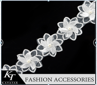 2015 trendy white wide lace trim, swiss lace n bridal beaded lace trim