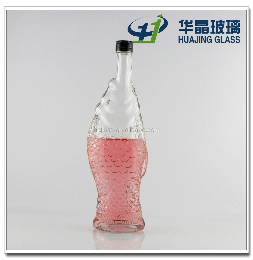 500ml unique fish shaped wine glass bottle with metal lid for Unique glass bottles