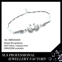 Korean jewelry accessories bracelets designs rhodium plated 925 silver two Swans of cute girls fashion bracelets