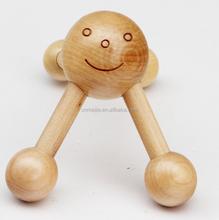 wood massager/four legs wood smile face massager