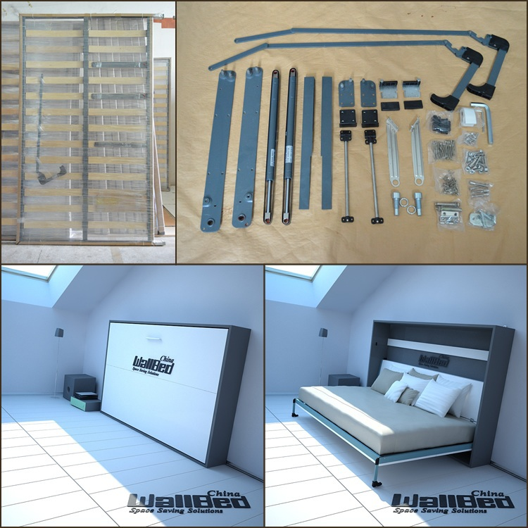 Double size wall bed folding bed mechanism view wall bed for Queen bed against wall