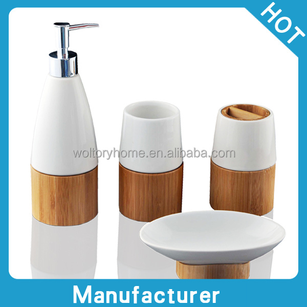 Natural Bamboo And Ceramic Bath Accessories Set Creative Bathroom