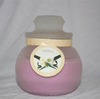 Pillar shape and paraffin wax material scented candles in glass jar
