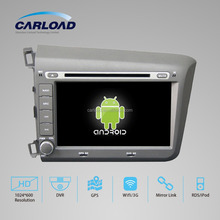 Android 4.4 car dvd for CIVIC 2012 car gps Left WITH CHIPSET 1080P 8G ROM