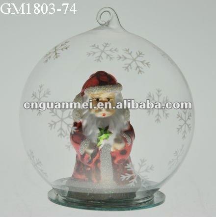 Colgante de la navidad adornos con papá noel dentro de la bola