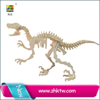 2015 cotowins wooden craft dinosaur world toy models dinosaurs for assemble