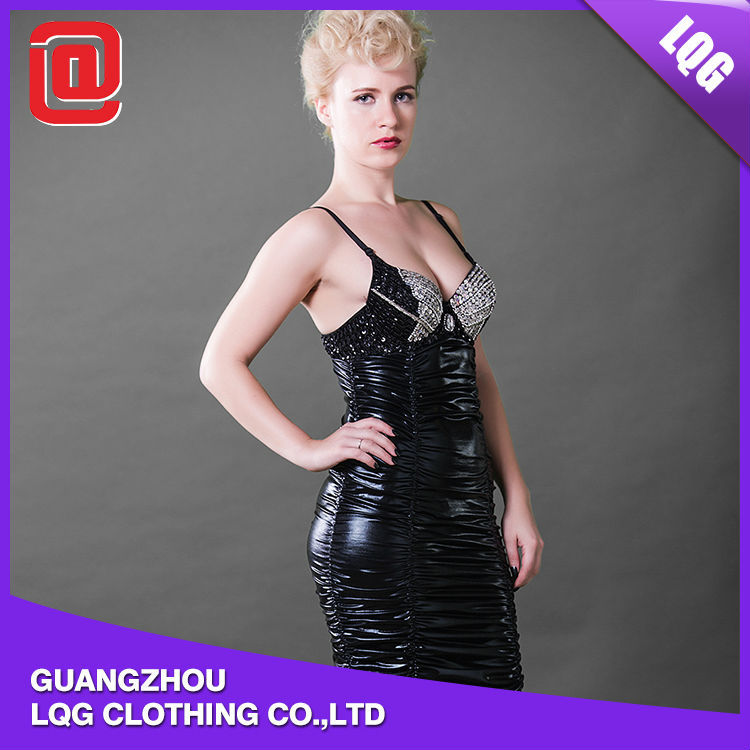 Высокое качество бар искусственной кожи корсет широкая юбка в сборку танцевальный клуб платье