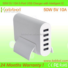 50W 5V 10A 5 in1 USB Charger by Kabbol for 5-port Desktop USB Charging Station for All USB Devices like Samsung Phones Series