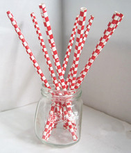 Red blue green black yellow pink white grey checkered paper drinking straw
