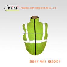 fluorescent ladies reversible safety jacket short sleeves jacket Reflective cotton-padded Vest