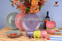 16PCS stoneware two tone design color glaze round dinner set / stripe stoneware dinnerware sets