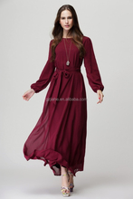 New Fashion Lady Simple Long Sleeve Chiffon Dresses Muslin Plain Color Maxi Long Dresses for woman with belt