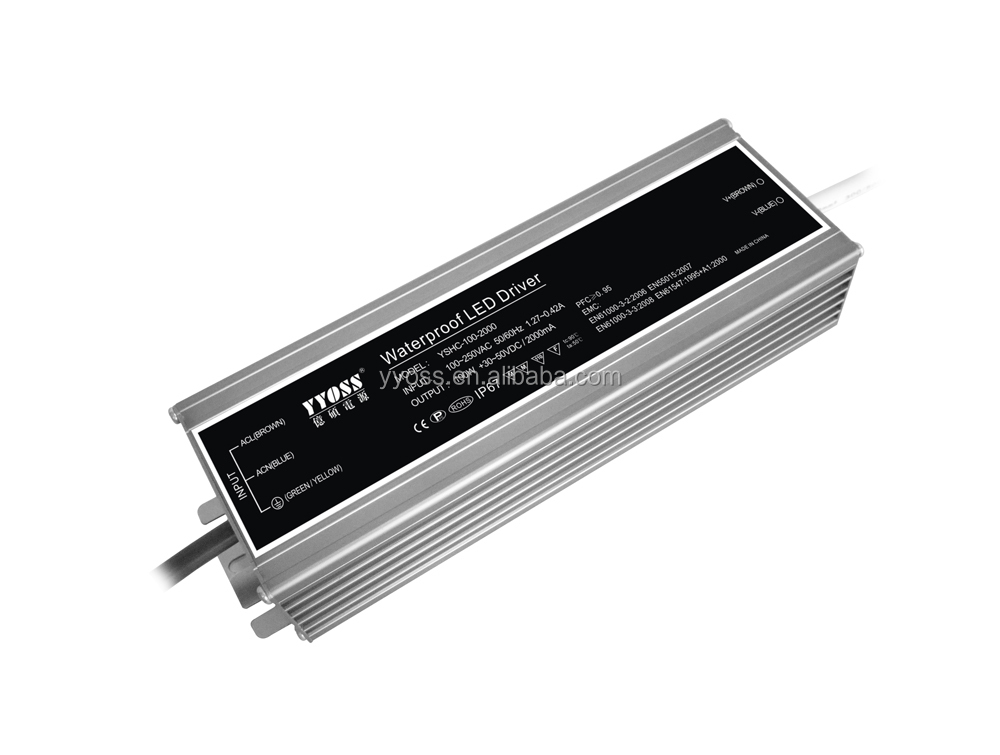 TUV EMC waterproof 100w led driver 700mA/1400mA/2100mA high efficiency 93%