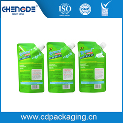 500ml Coconut oil detergent packaging bag with 10mm diameter spout