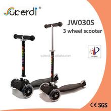 new 3 wheel folding kick n go pedal push 120/80mm cheap kids rider scooter