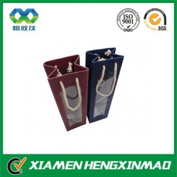 China Wholesale Promotional Paper Wine Bags with Window in Different Colours