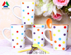 10oz white coffee cup set ceramics with colorful dots and spoon for wholesale