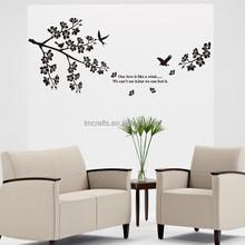 Free shipping Wall Decal Stickers Removable Wallpaper,Room Sticker, House Sticker Vinyl BLACK flower tree birds JM7190